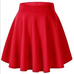 Vibrant Red High Waisted Skater Skirt NWOT